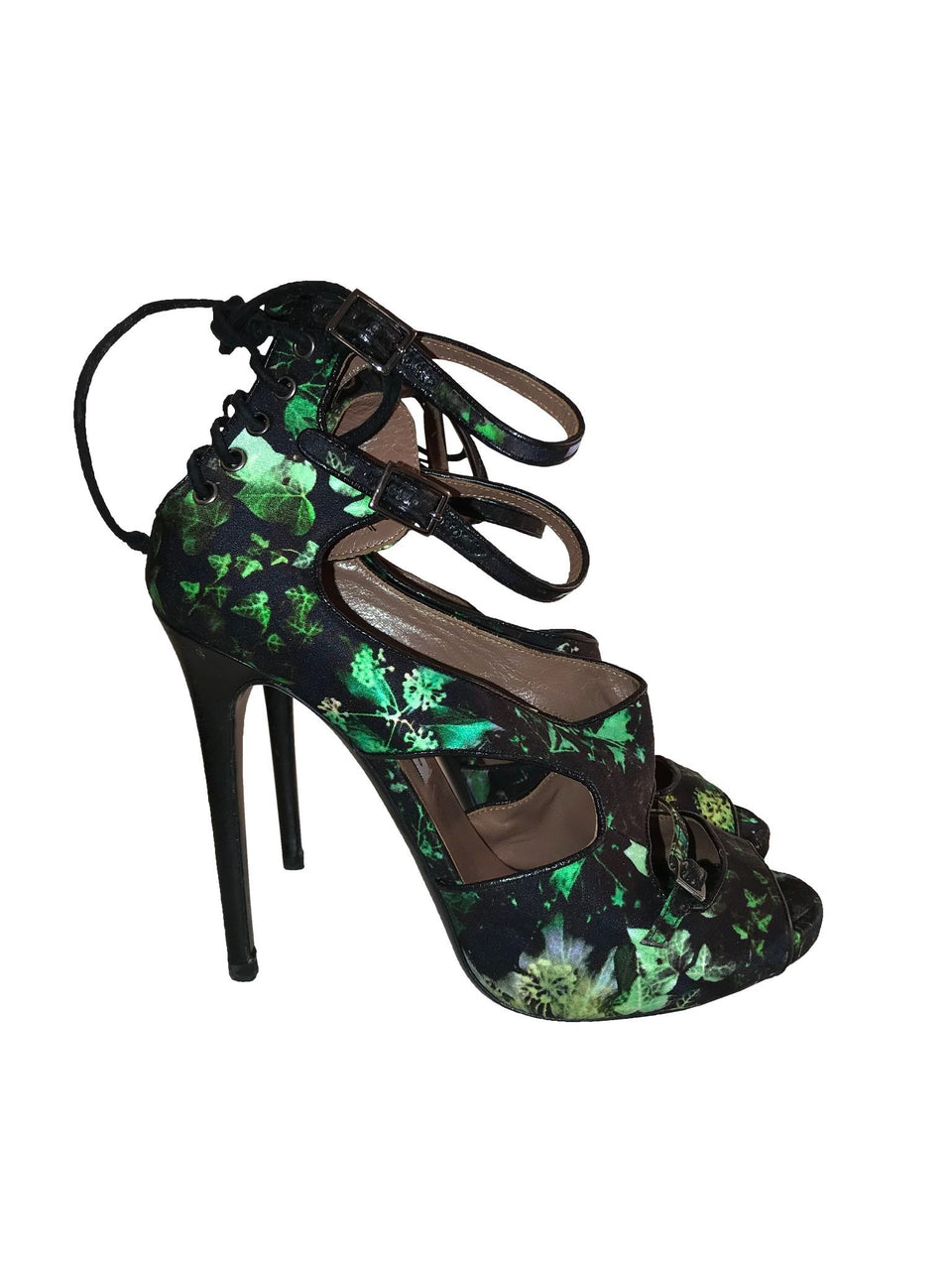 Tabitha Simmons Green Printed Strappy Sandals
