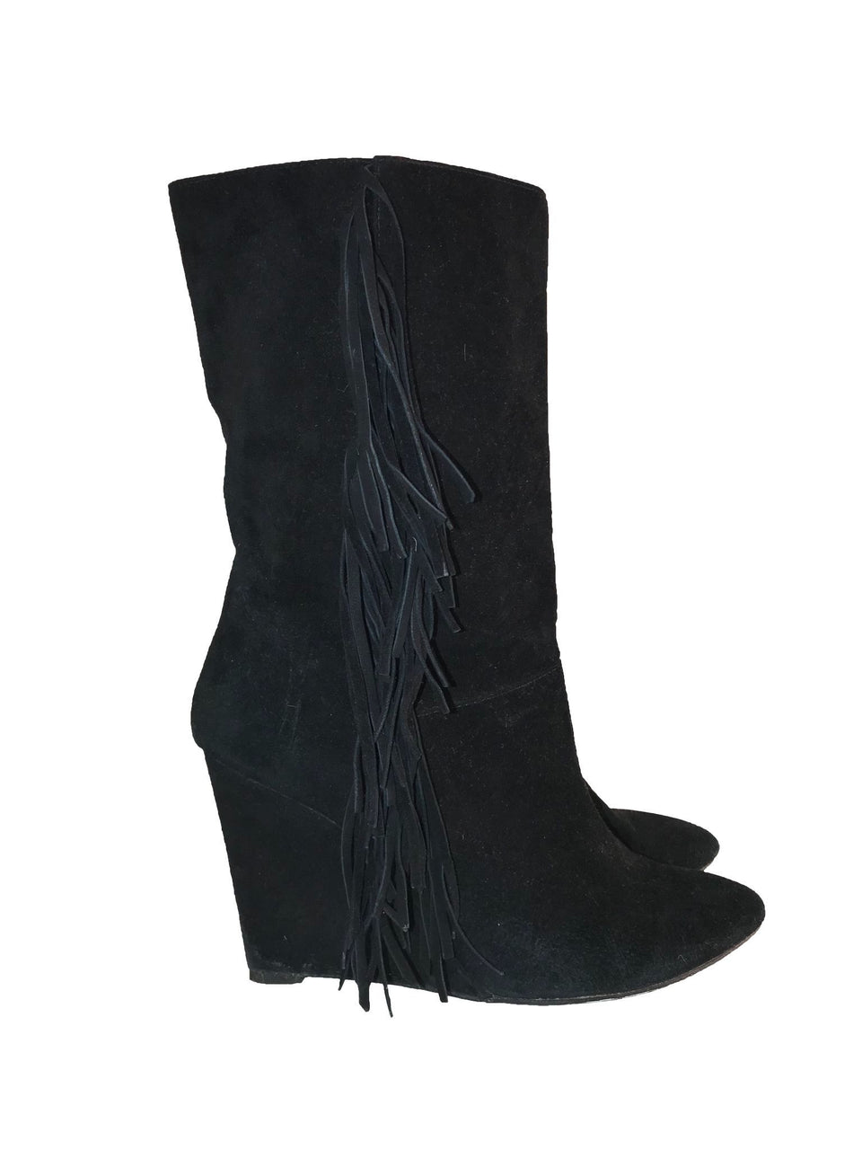 Fringe Suede Wedge Boots