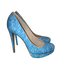 Blue Lace Platform Pumps