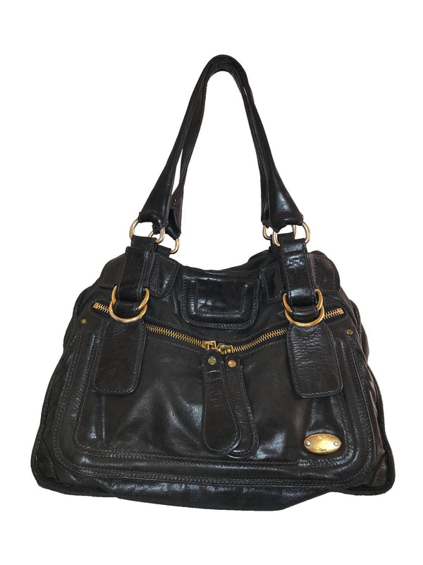 Black Chloe Leather 'Bay' Bag