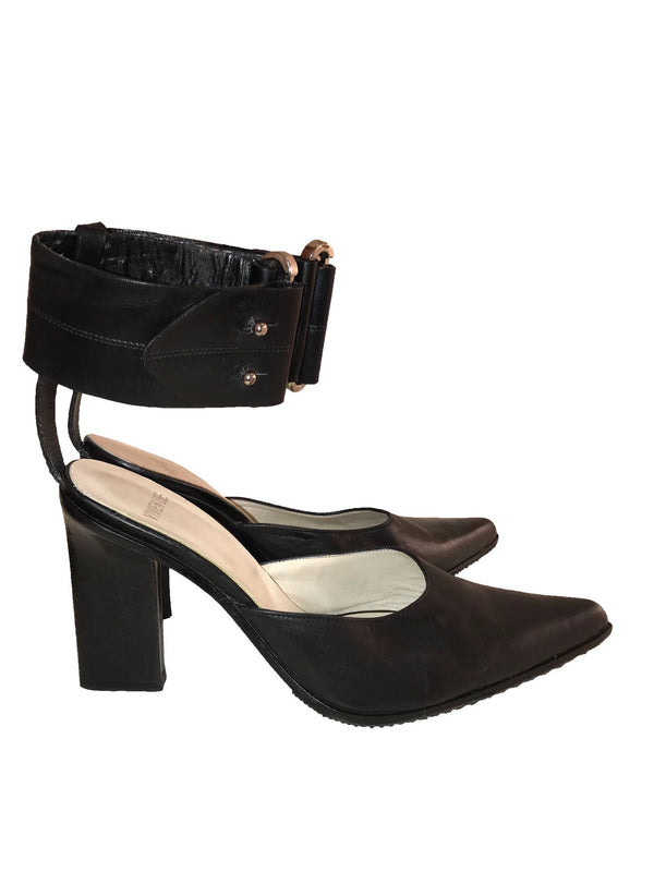 Vivien Lee Black Slide with Ankle Cuff
