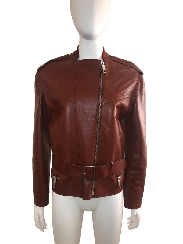 Lamb Leather Biker Jacket with Removable Sleeves