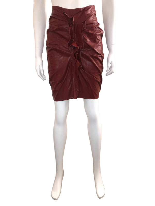 Faux Leather 'Zephi' Skirt with Front Ruffle