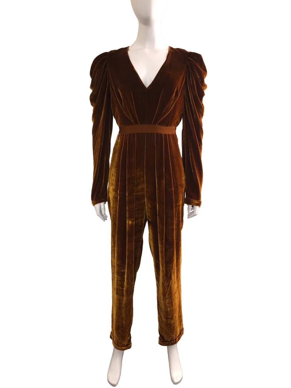 Velvet Gathered Long Sleeve Jumpsuit