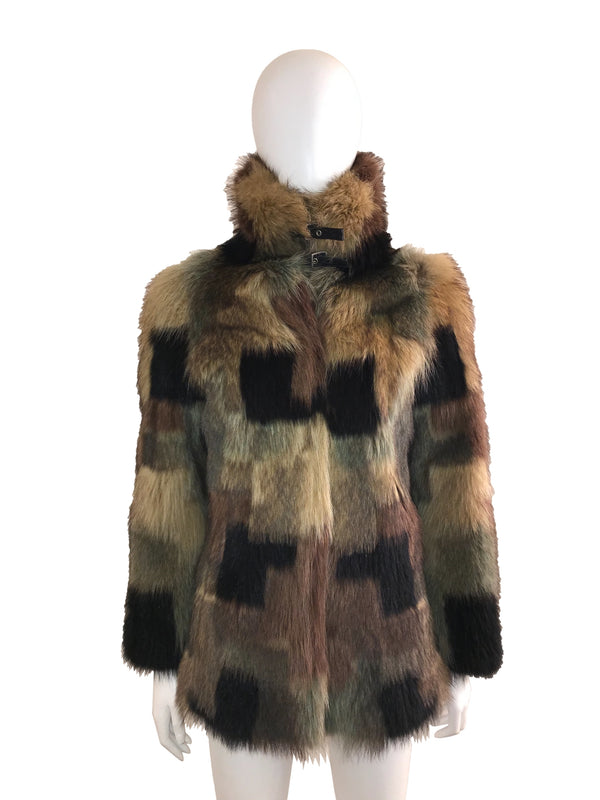 Camouflaged Patch Patterned Fur Coat