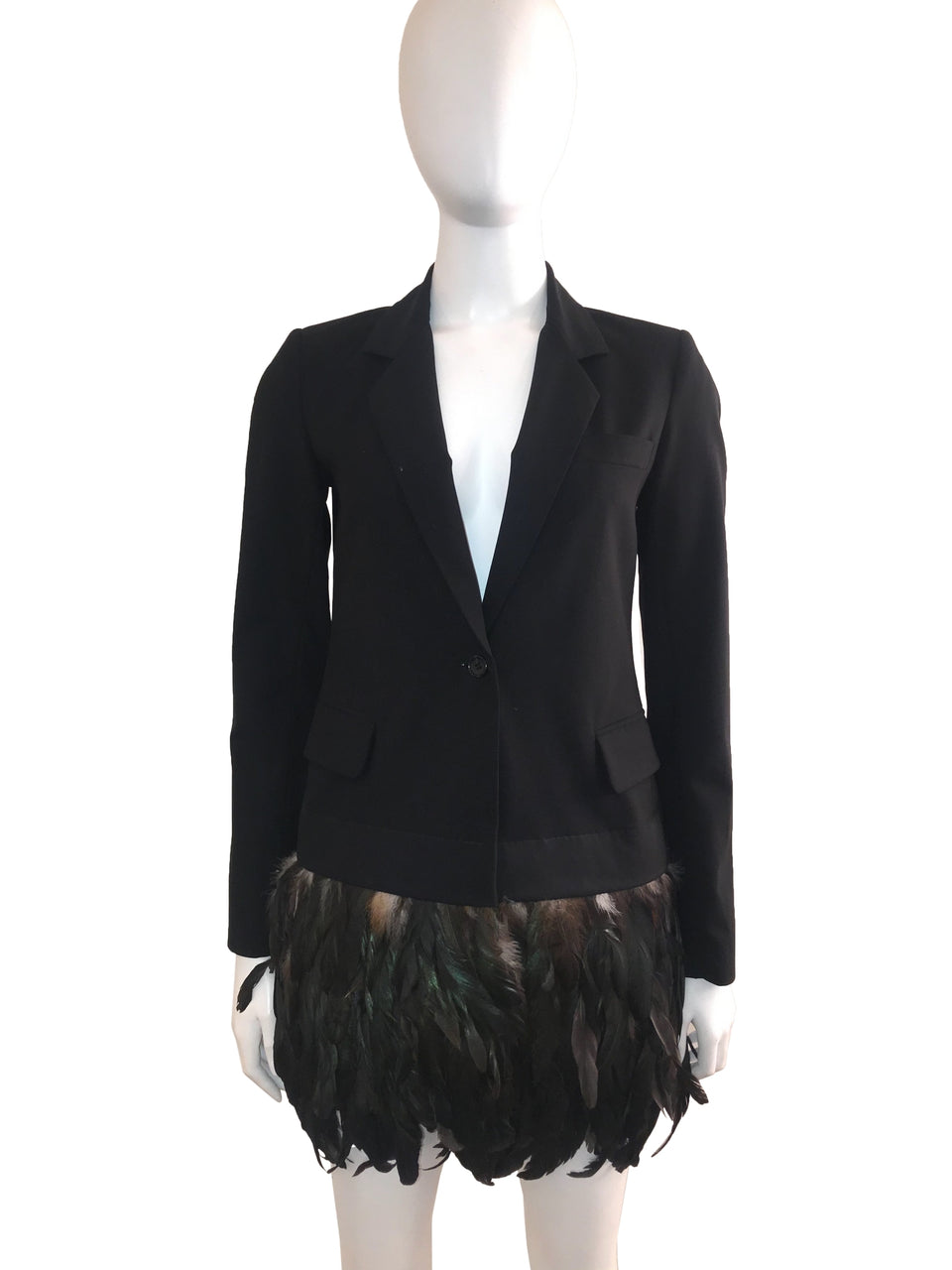 Black Blazer with Feather Bottom