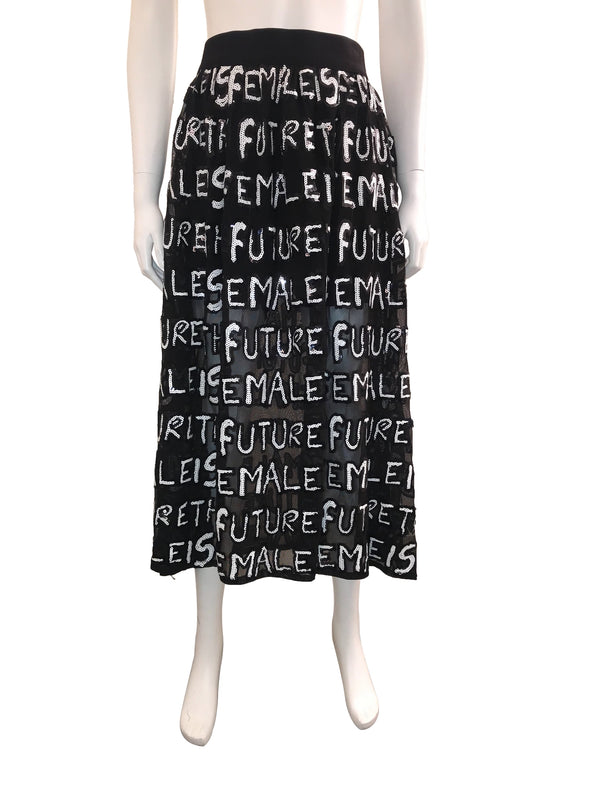 Feminism Midi Skirt with 'Future is Female' Letters Throughout