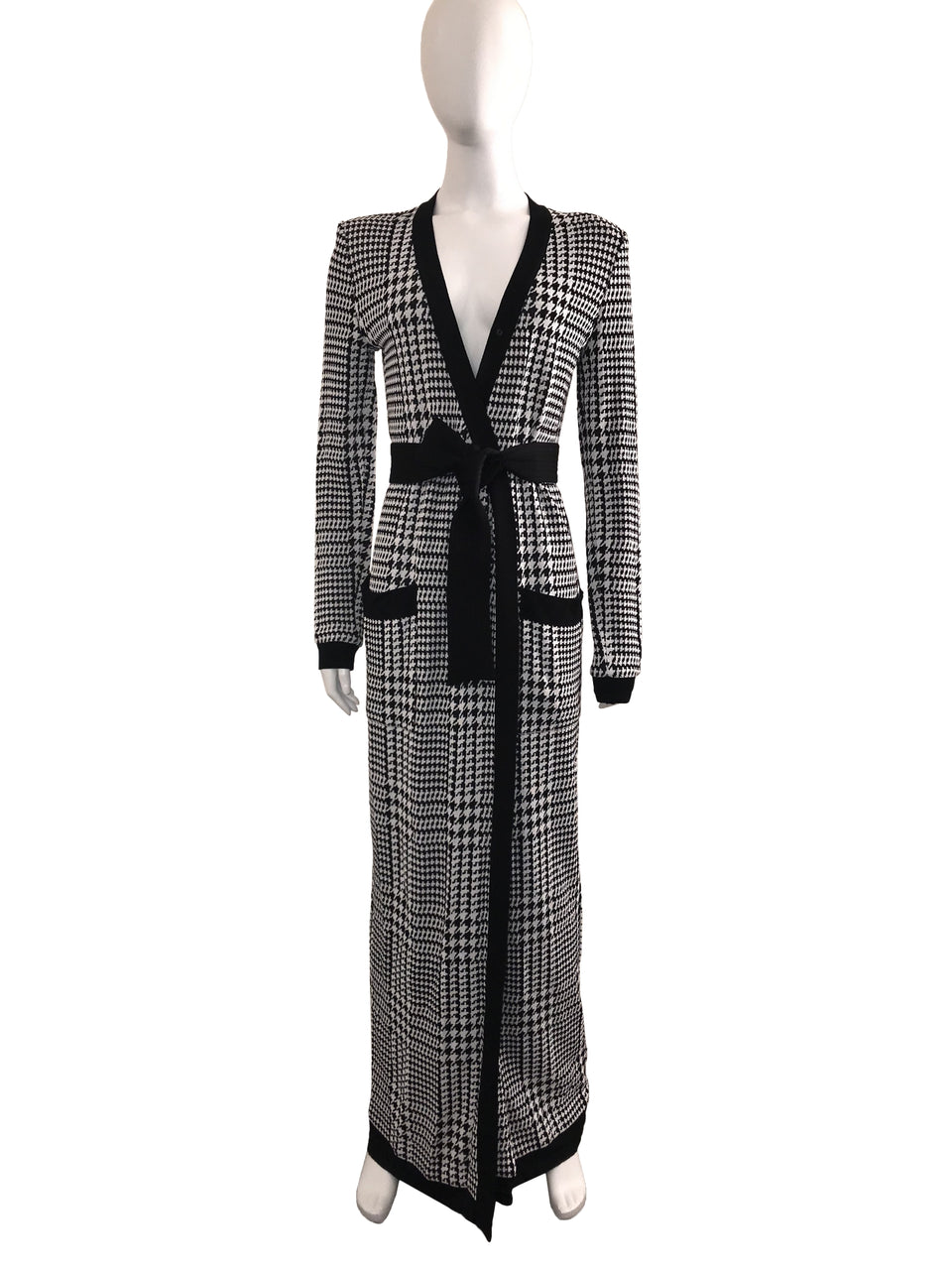 2-Piece Houndstooth Duster Cardigan with Matching Pant