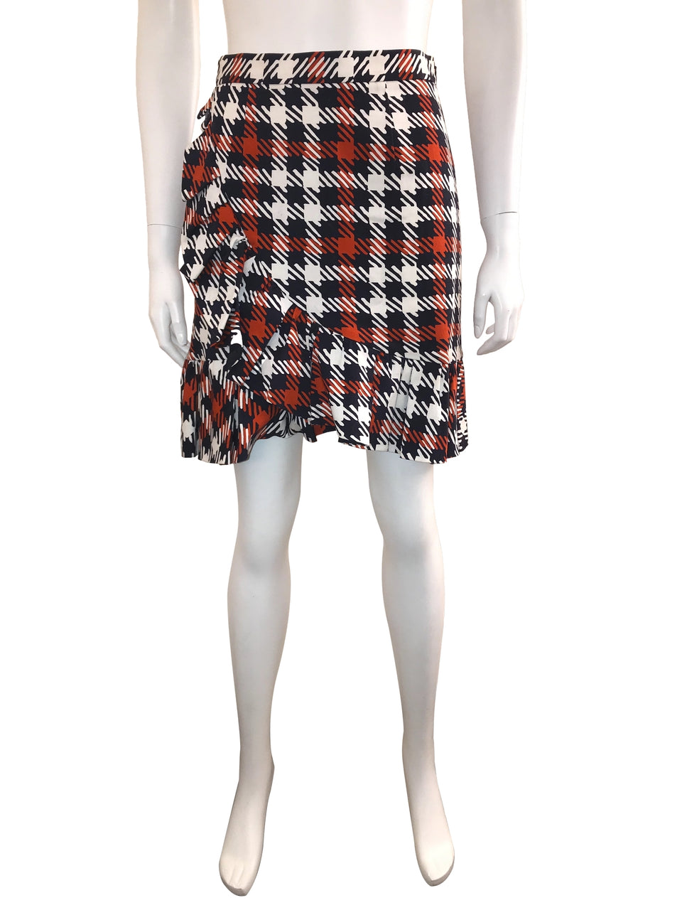 Houdstooth Mini Skirt with Ruffle Detail