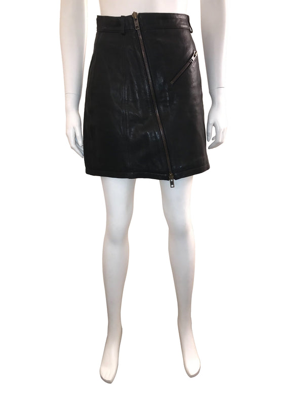 Leather Mini Skirt with Zip Front