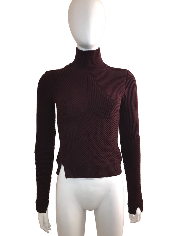 Ribbed Knit Sweater with Formed Bodice Design