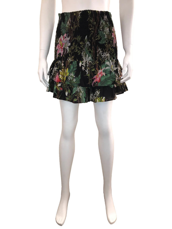 Cotton Floral Ruffle Mini Skirt