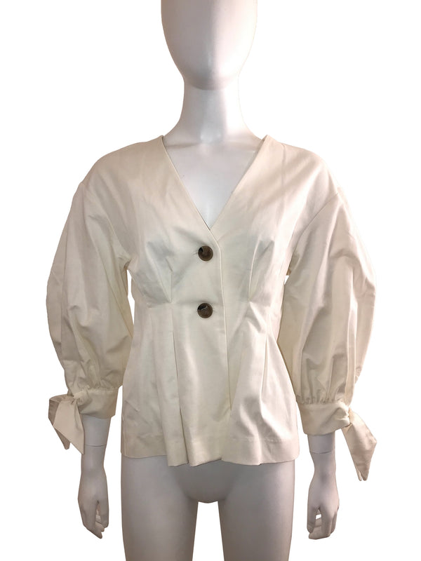 Jacket Style Shirt with Tied Puff Sleeve