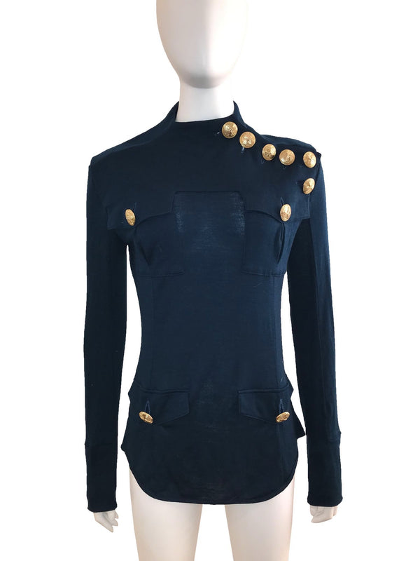 Long Sleeve Military Sweater w/ Gold Buttons