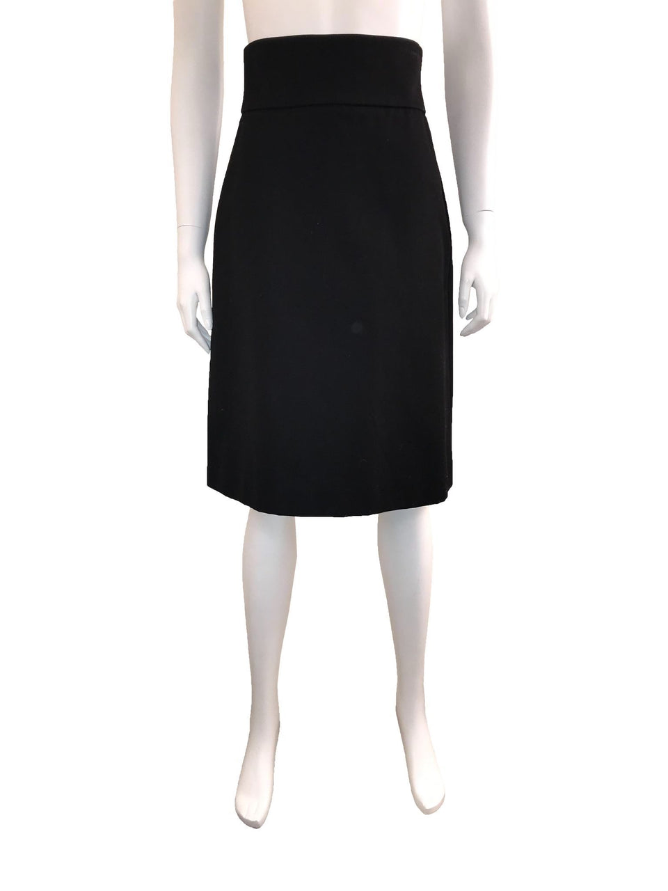 Black Cotton Skirt with Thick Waistband
