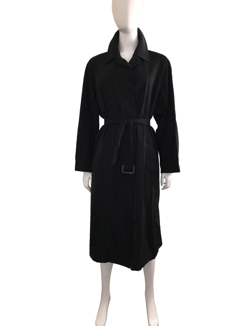 Black Single Breasted Belted Trench Coat