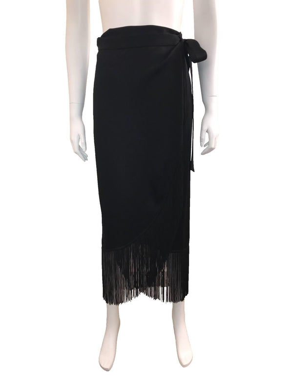 Wrap Skirt with Fringed Hem