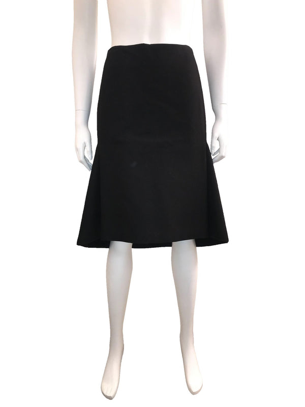 Black Cotton Skirt with Fit & Flare Back
