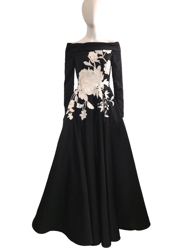 Black Long Sleeve Gown w/ White Embroidery Detail