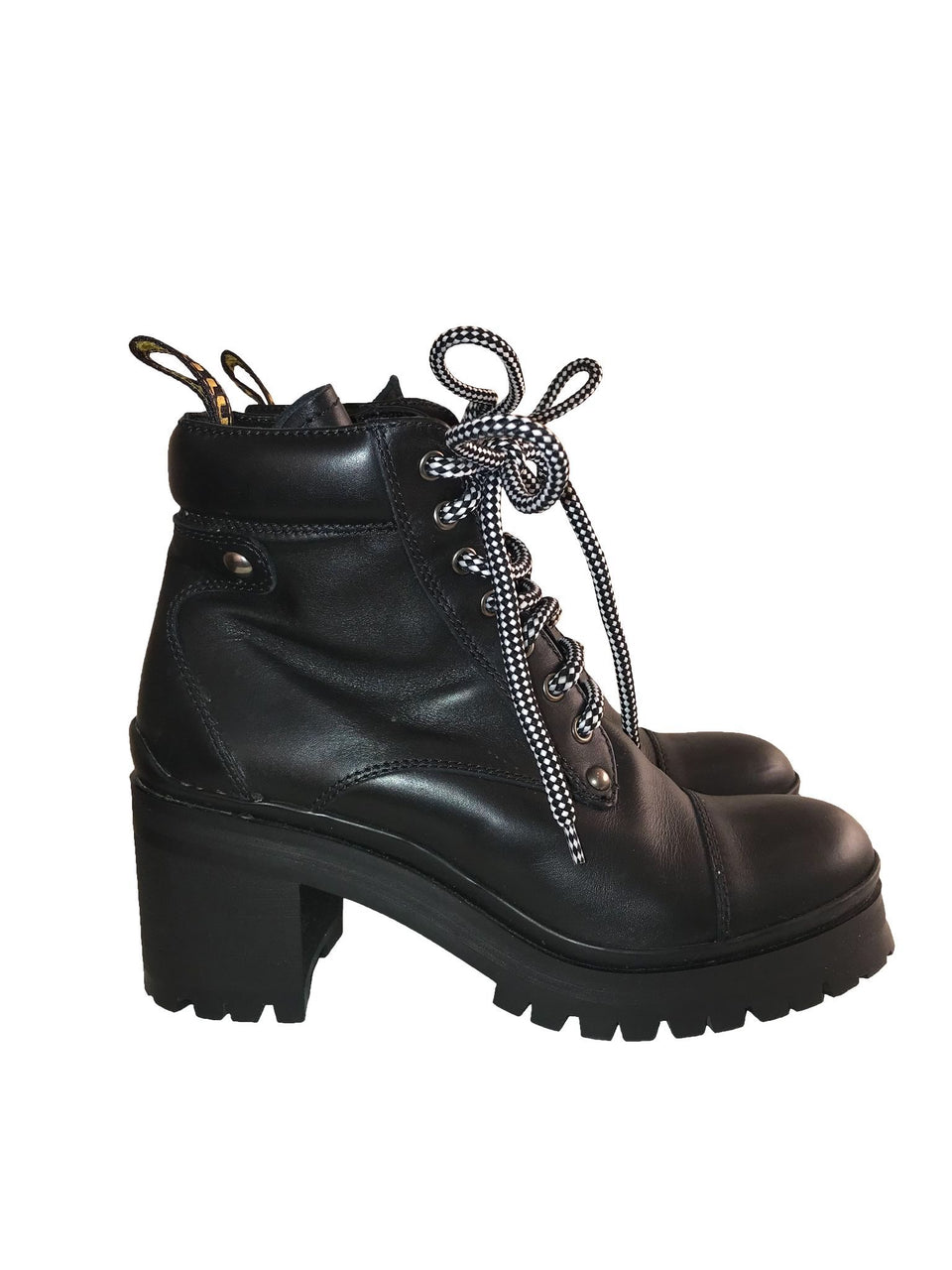 Heeled Leather Combat Boots