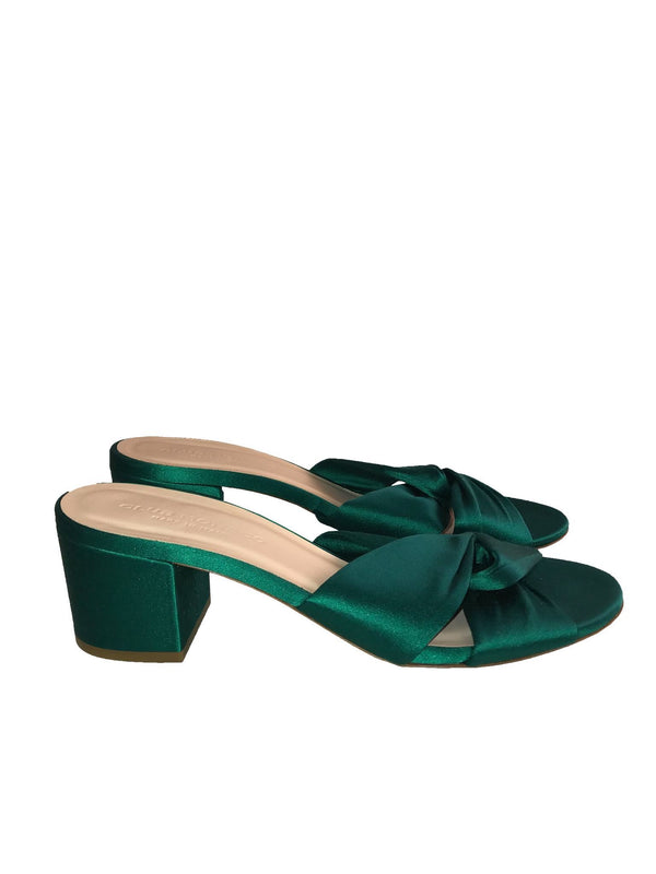 Green Criss Cross Slide Sandals