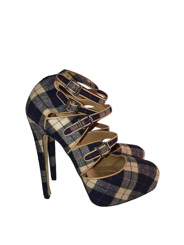 Plaid Strappy Square Toe Heels