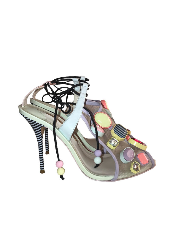 Mesh Strappy Sandals with Stones