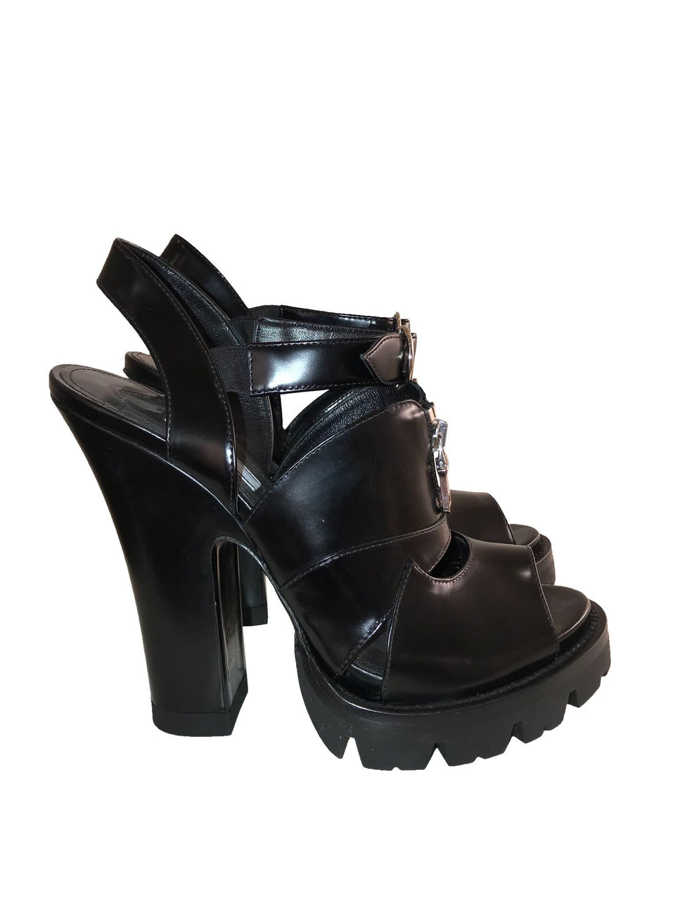 Chunky Leather Sandals w/ Zipper