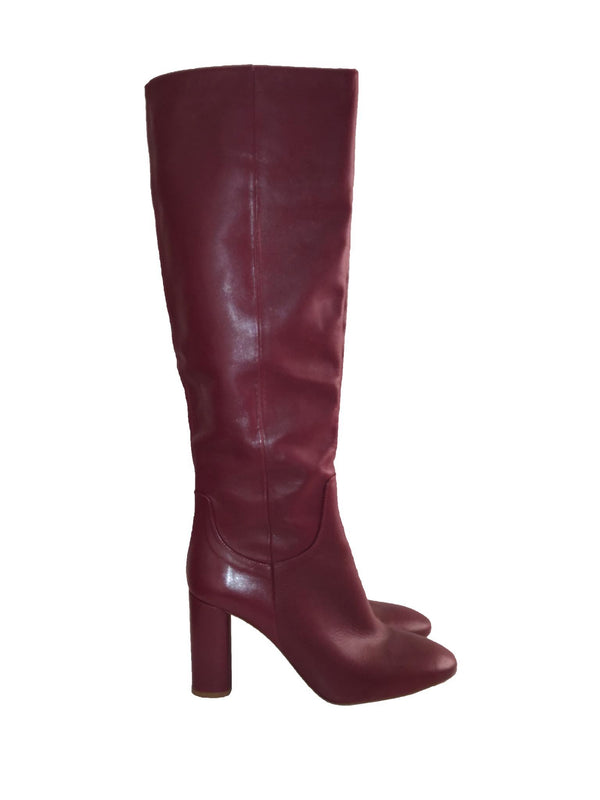 Burgundy Leather Over The Knee Boot