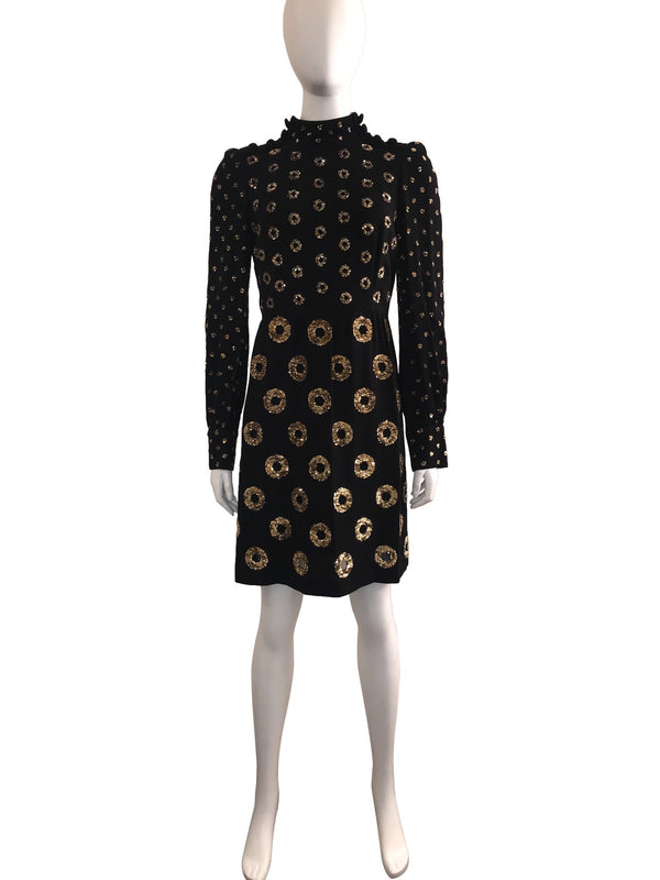 Black Wool Dress with Sequin Circles