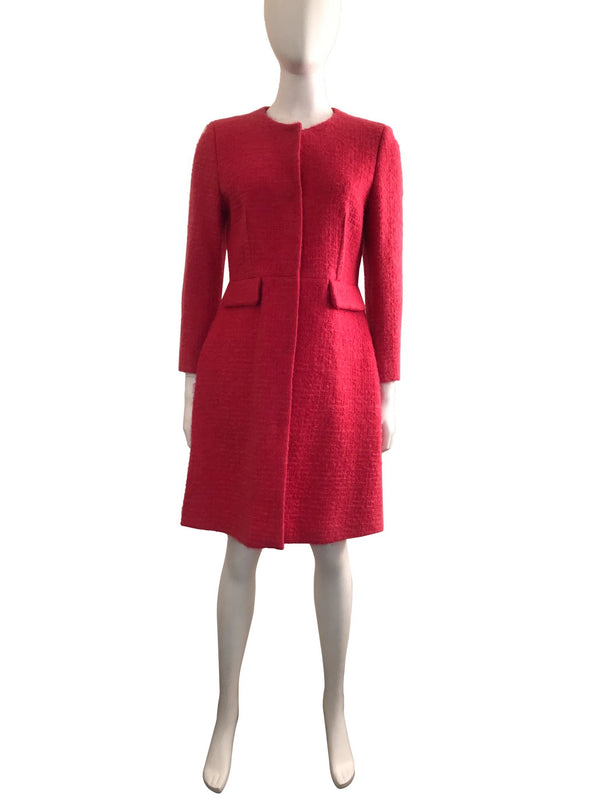 Fuchsia Mohair Fit and Flare Coat