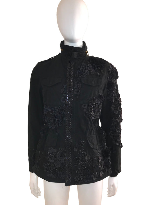 Embroidered Floral Embossed Utility Jacket