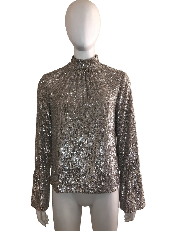 Mock Neck Sequin Top with Bell Cuff