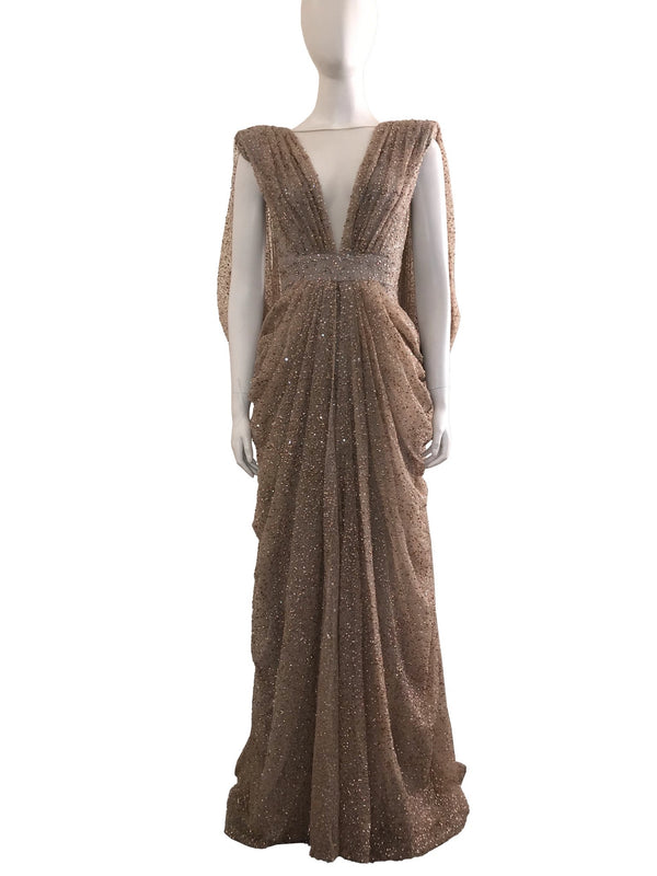 V-Neck Gathered Gown With Draped Back