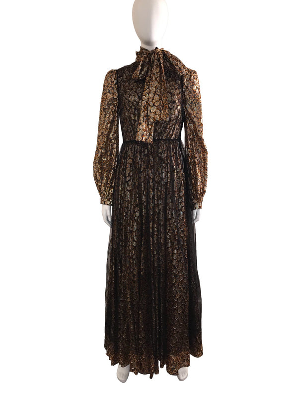 Animal Printed Tie Neck Gown