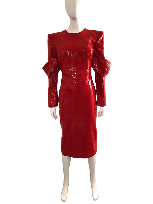 Red Sequin Declan Fitted Dress with Sleeve Detail