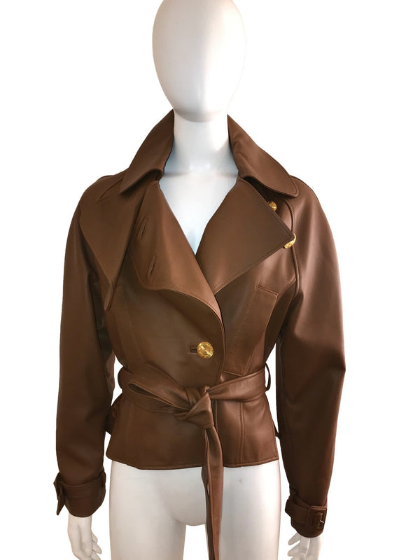 Brown Leather Jacket with Waist Belt and Buckled Cuff