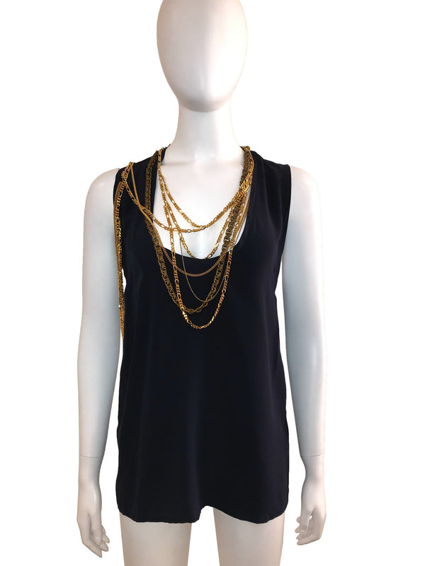 Sleeveless Top with Gold Chain Neck Detail
