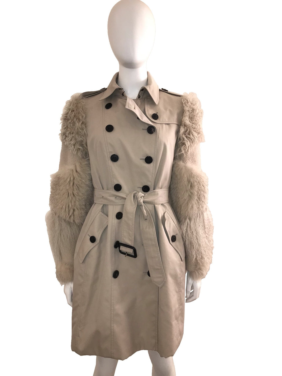 Double Breasted Trench With Fur Sleeves