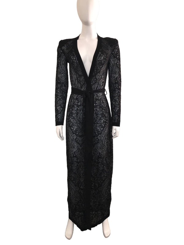Black Lace Wrap Front Cardigan with Waist Belt