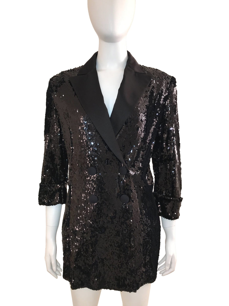 Double Breasted Sequin Tuxedo Blazer