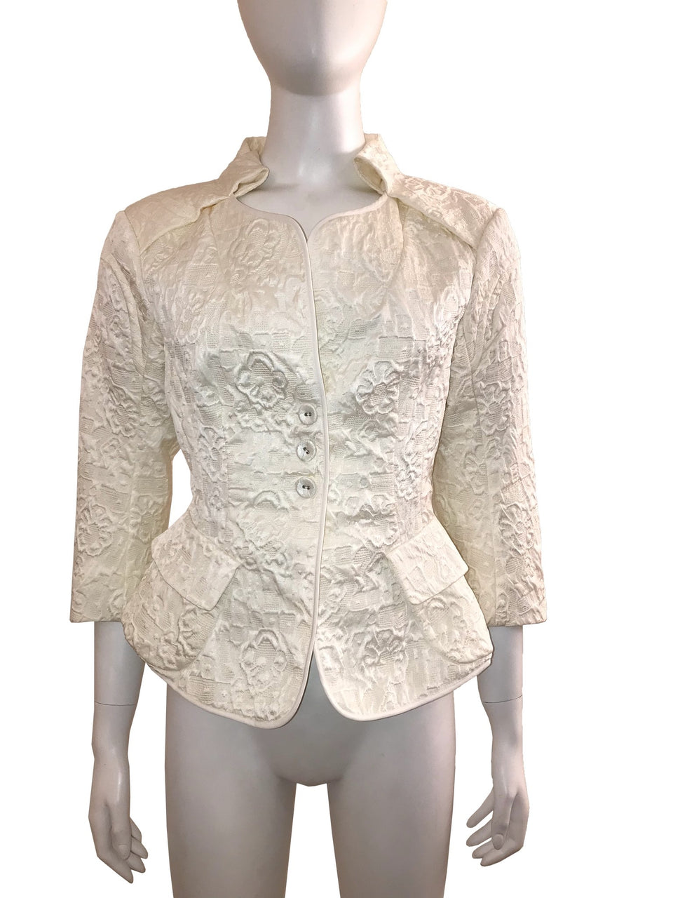 Ivory Textured Cut-out Jacket with 3/4 Sleeve