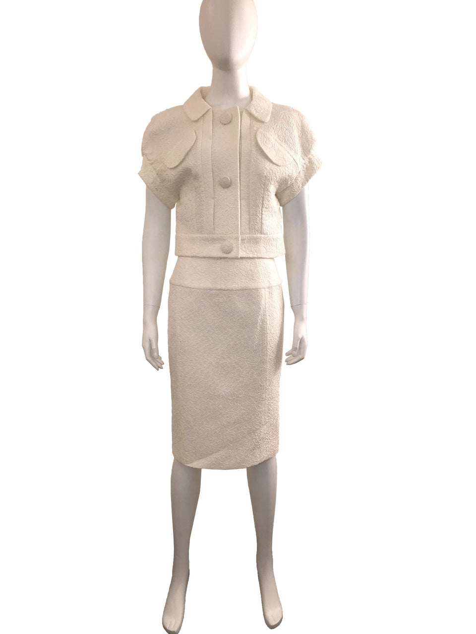 White Cap Sleeve Textured Skirt Suit