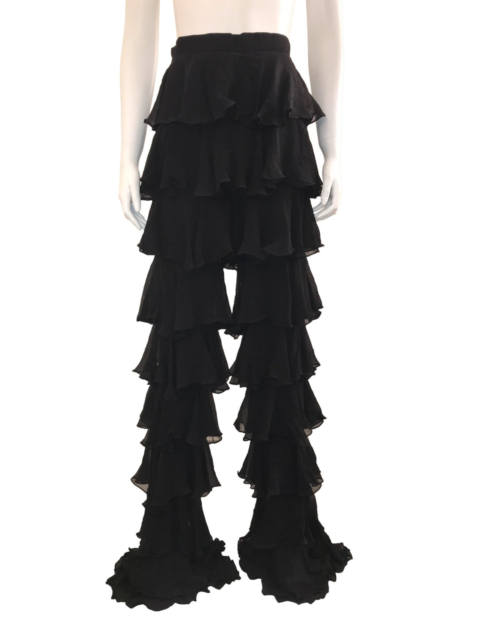 Black Tiered Ruffle Runway Pants