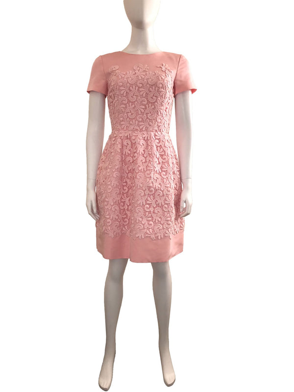 Pink Lace Short Sleeve Dress