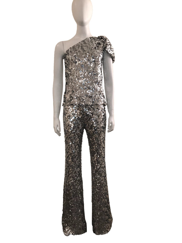 2 Piece Sequin Pant with One Shoulder Top