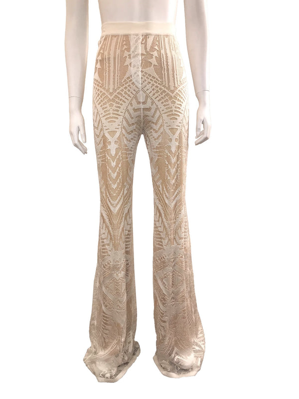 Nude/Ivory Lace Fit and Flare Pants