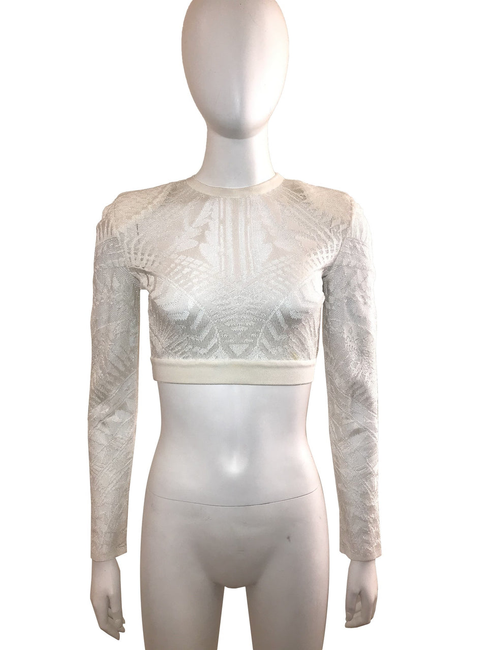 Off White Knitted Pattern Crop Top