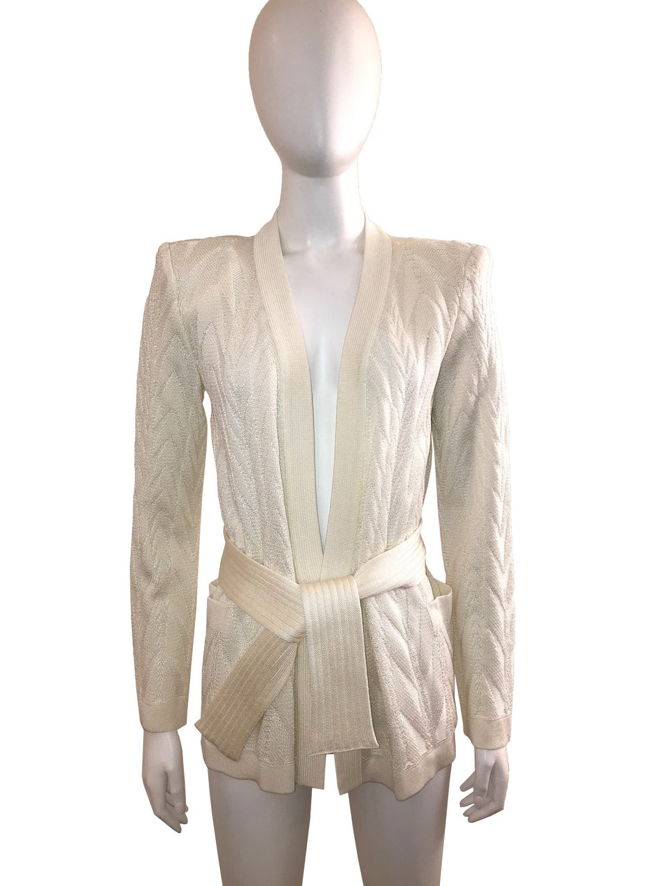 Ivory Wrap Front Cardigan with Belt