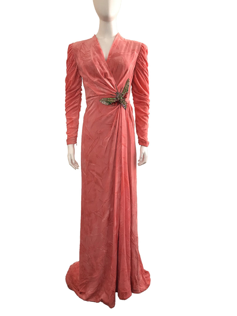 Pink Velvet Gown with Embellished Bug on Front
